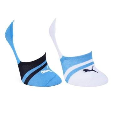 Kit 2 Pares de Meia Puma Sapatilha Invisível Feminino - Azul e Branco