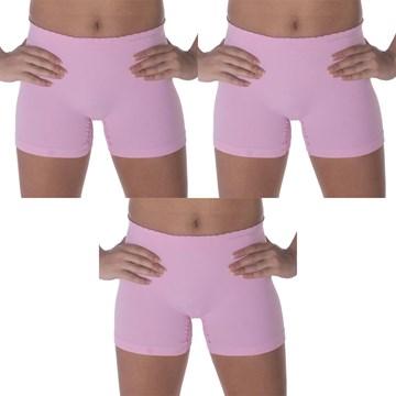 Kit 3 Calcinhas Boxer Selene Sem Costura Infantil - Rosa