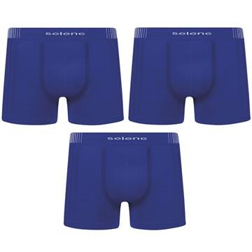 Kit 3 Cuecas Boxer Selene Sem Costura Masculino - Azul