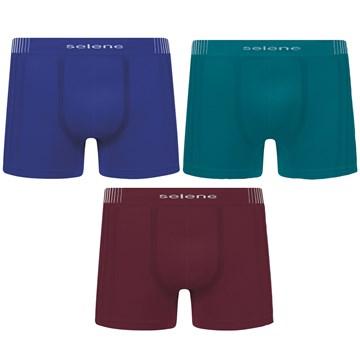 Kit 3 Cuecas Boxer Selene Sem Costura Masculino - Bordô, Azul e Petróleo