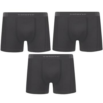 Kit 3 Cuecas Boxer Selene Sem Costura Masculino - Chumbo