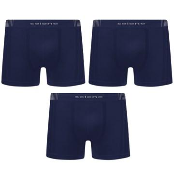 Kit 3 Cuecas Boxer Selene Sem Costura Masculino - Marinho