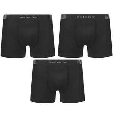 Kit 3 Cuecas Boxer Selene Sem Costura Masculino - Preto