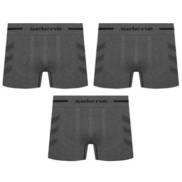 Kit 3 Cuecas Boxer Selene Sem Costura Mescla Masculino - Preto