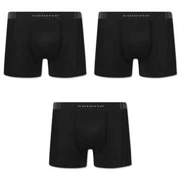 Kit 3 Cuecas Boxer Selene Sem Costura Tamanho Especial Masculino - Preto