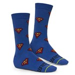 Kit 3 Pares de Meia Selene Liga da Justiça Superman Mascuina - Azul