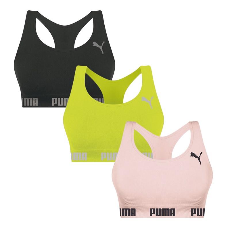 Kit 3 Tops Puma Nadador Sem Costura - Preto, Limão e Rosa