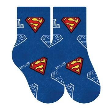 Kit 4 Pares de Meia Selene Liga da Justiça Superman Infantil - Branco e Azul