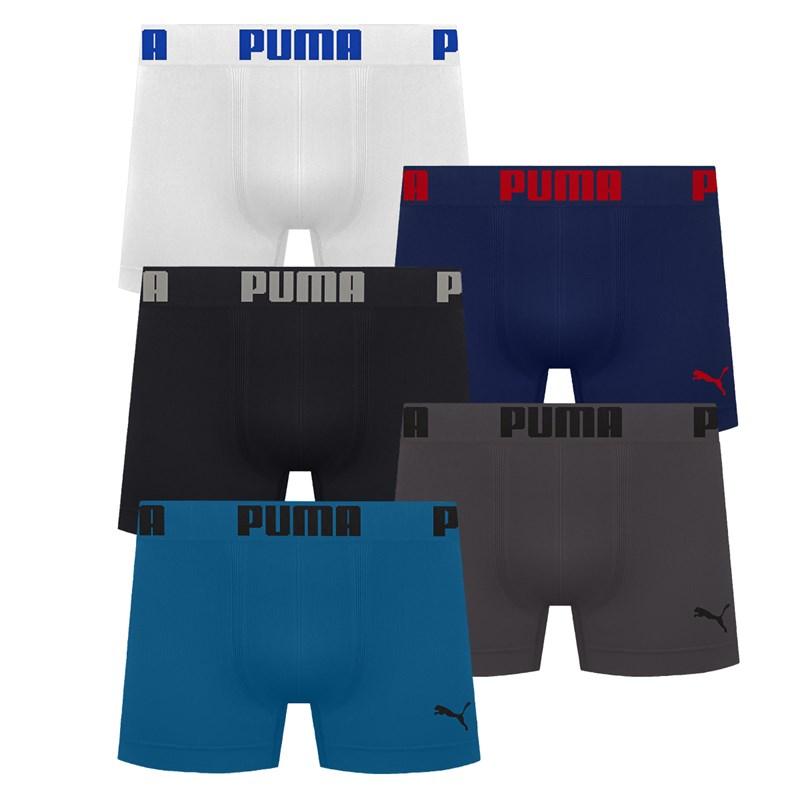 Kit 5 Cuecas Boxer Puma Sem Costura Masculino