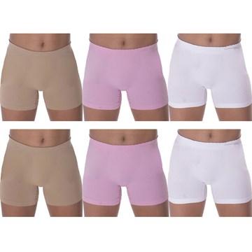 Kit 6 Calcinhas Boxer Selene Sem Costura Infantil - Branco/Rosa/Bege