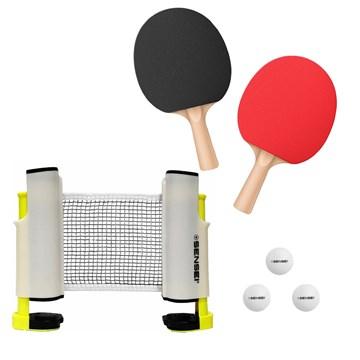 Kit Sensei Tênis de Mesa 2 Raquetes 3 Bolas + Rede