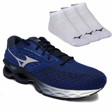 Kit Tênis Mizuno Wave Creation 21 Masculino + 3 Pares de Meia Mizuno