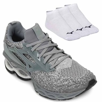 Kit Tênis Mizuno Wave Creation Waveknit 2 + 3 Pares de Meia Mizuno