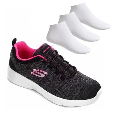 Kit Tênis Skechers Dynamight 2.0 Feminino + 3 Pares de Meia