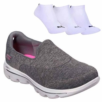 Kit Tênis Skechers Go Walk Evolution Ultra Amaze + 3 Pares de Meia Puma