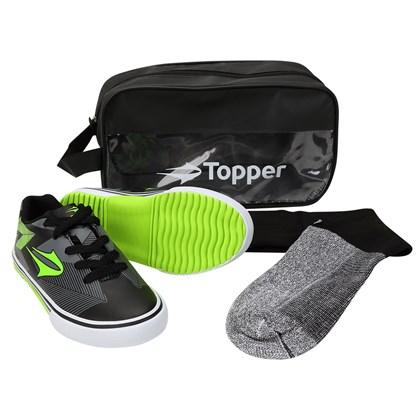 26d042772f2 Kit Topper Goleada 1 Chuteira Futsal + Meião + Bolsa Infantil ...