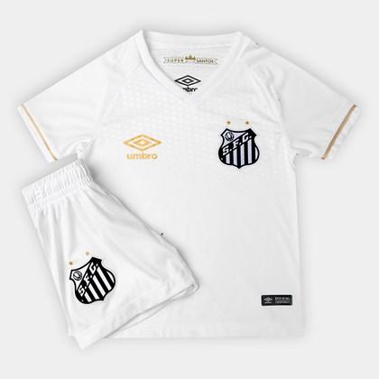 aab1cdbaf8 Kit Umbro Santos Oficial 1 2018 Infantil - EsporteLegal