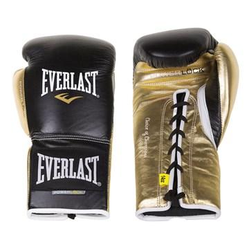 Luva de Boxe Everlast Treino Powerlock Com Amarração - Preto e Dourado