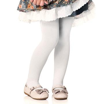 Meia Calça Selene Canelada Infantil - Branco