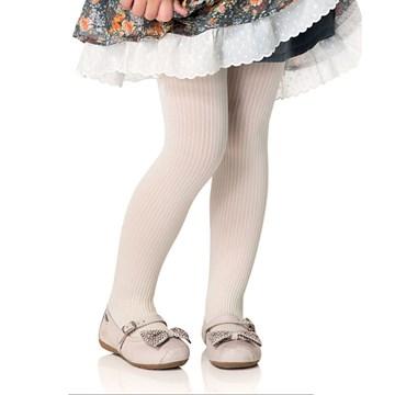 Meia Calça Selene Canelada Infantil - Marfim