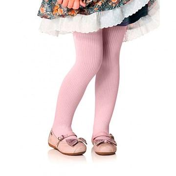 Meia Calça Selene Canelada Infantil - Rosa