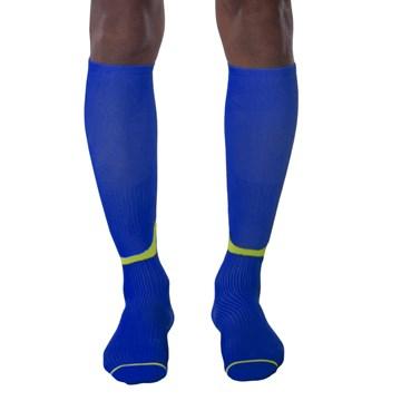 Meia de Compressão Selene 3/4 Esportiva - Azul e Amarelo