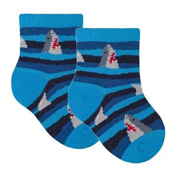 Meia Selene Bebê Meninos Tubarões - Azul e Marinho