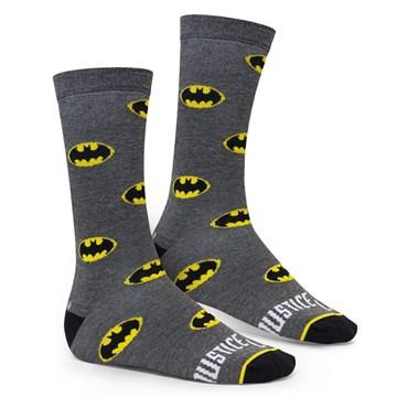 Meia Selene Liga da Justiça Batman Masculina - Cinza e Preto
