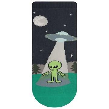 Meia Selene Meninos Alien Infantil - Marinho e Verde