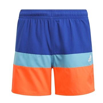 Short Adidas Natação Colorblock Infantil - Azul e Laranja