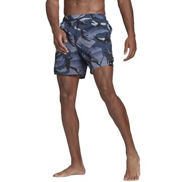 Short Adidas Natação Curto Estampado Masculino - Marinho