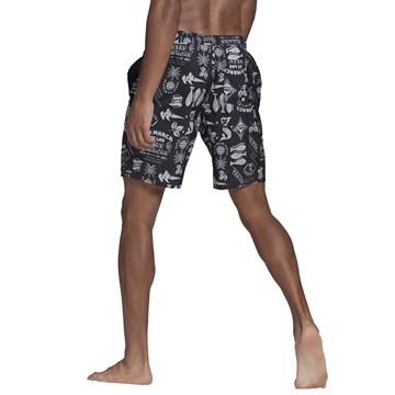 Short Adidas Natação Estampado Masculino - Preto e Branco