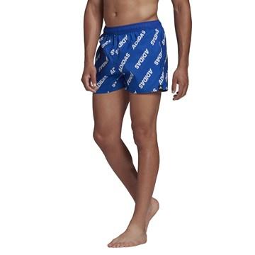 Short Adidas Natação Wording Masculino - Azul e Branco