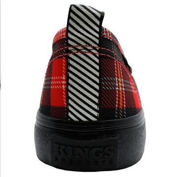 Tênis Kings Sneakers Oxford Resinado 3007 Xadrez Vermelho