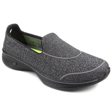 Tênis Skechers Go Walk 4 Super Sock Feminino - Cinza e Preto