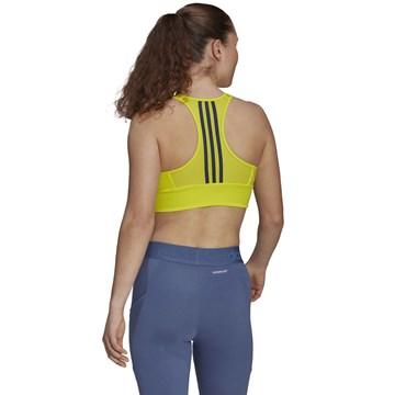 Top Adidas Aeroready Designed 2 Move 3 Listras Feminino - Amarelo