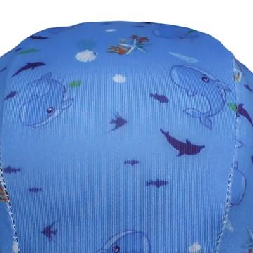 Touca de Natação Poker Estampada Baleia Infantil - Azul